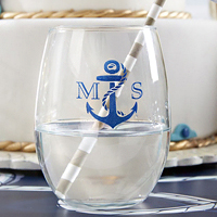 Personalized 9 Oz Stemless Wine Glass Favors with Anchor Design