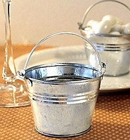 Galvanized Silver Tone Mini Favor Pails