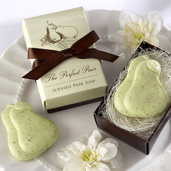 Pear shaped scented soaps in decorative gift box with satin ribbon bow