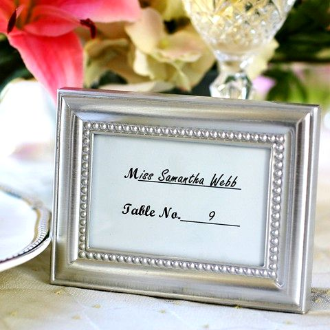 3 X 4 Beaded Border Silver Place Card Photo Frame Favors