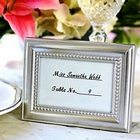 Beautifully Beaded silver place card frame with included preprinted placecard