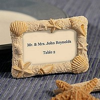 Beach Themed Resin Placecard Picture Frames Packaged in White Favor Box with Included Placecards