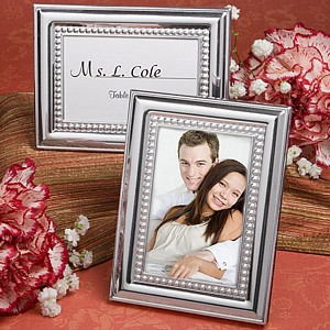 Silver finish and silver accented place card picture frames