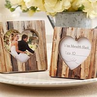 Rustic Romance Faux-Wood Heart Place Card Frame