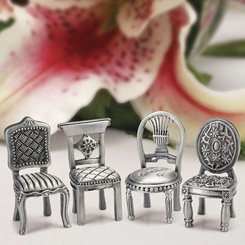 Miniature Pewter Chair Place Card Holders