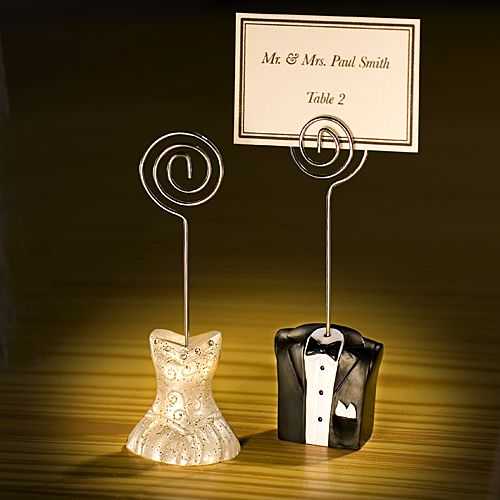 Wedding Place Card Holder Ideas: 5 Inch Tuxedo And Gown Wire Wedding Place Card Holders