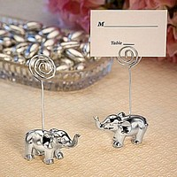 Silver Elephant Place Card Holder Favors with Place Cards Included