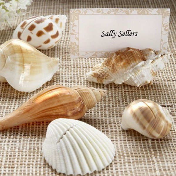 Wedding Place Card Holder Ideas: 6 Pc. Authentic Seashell Place Card Holder Set