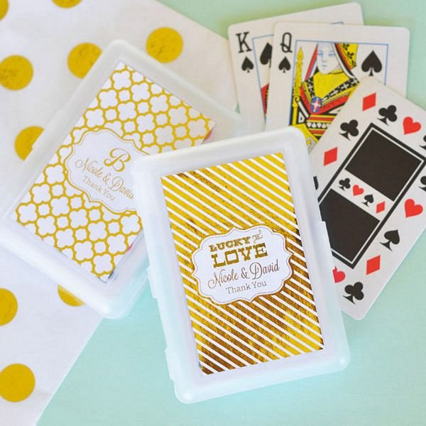 playing card wedding favors in personalized white plastic case