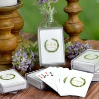 Personalized Love Wreath Wedding Playing Card Favors custom printed with two initials and single line of text