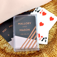 Personalized Retro Luxe Playing Cards with names and date.