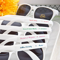 Personalized white frame sunglasses wedding favors