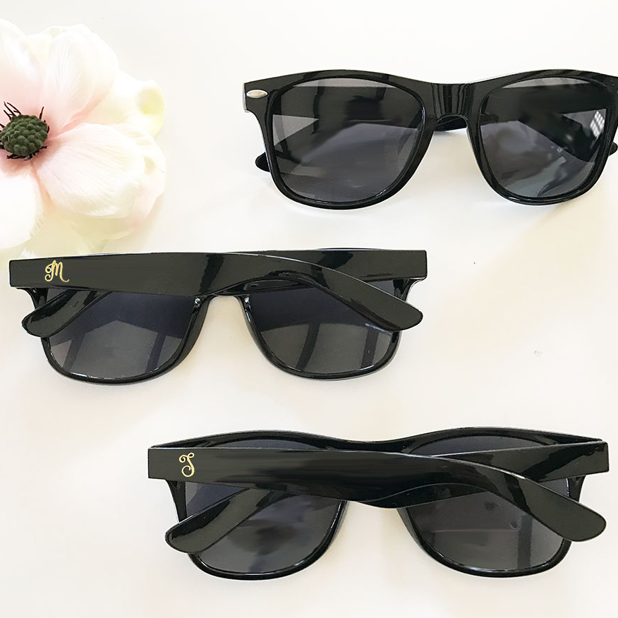 Monogram Black & Gold Wayfarer Style Sunglasses