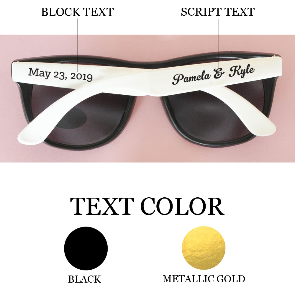 Choose from black or metallic gold text color options for the custom text on your sunglass stickers