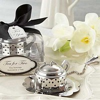 Stainless steel  teapot shaped tea infuser with chain pull lid and scalloped tray