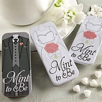 Bride and groom design sliding mint tins