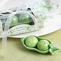Ceramic pea shaped salt and pepper shakers with pod holder in gift box with ribbon and tag