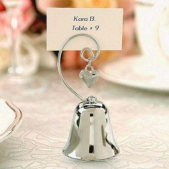 Silver bell favor with dangling heart charm placecard holder