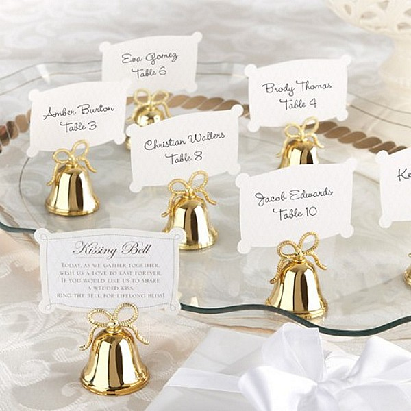 Wedding Place Card Holder Ideas: 24 Pc. Gold Wedding Kissing Bell Place Card Holder Set