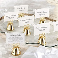 Gold Kissing Bell Place Card Holders - Set of 24