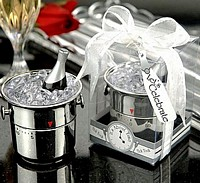 Champagne bucket timer in clear top gift box with ribbon and tag