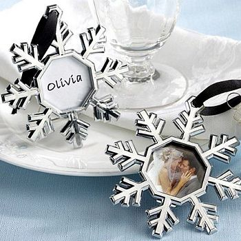 Snowflake Ornaments with Frame for Pictures or Place Cards for Wedding Favors and Gifts