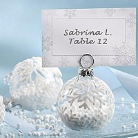 Glass snowflakes Christmas ornament placecard holder with winter theme place card