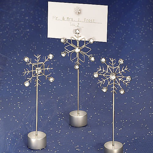 Silver Snowflakes Place Card Holders