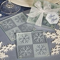 Frosted glass snowflake coasters set with organza ribbon and For You gift tag