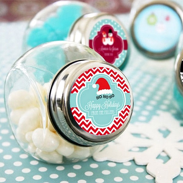 Personalized Winter Themed Miniature Glass Candy Jars