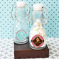 Mini Glass Vintage Bottles with Personalized Winter Labels