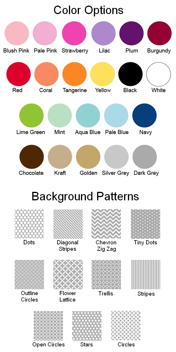 Pattern Options and Colors for Personalized Lip Balm Favors