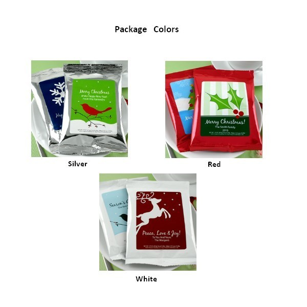 Coffee pack color options in silver, red or white