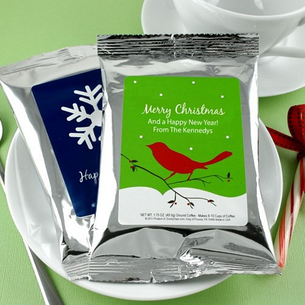 Coffee packs with personalized holiday labels