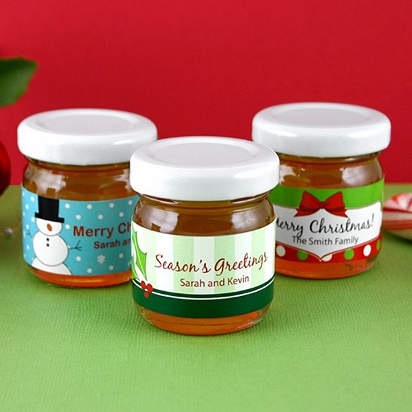 Honey jar favors with personalized holiday labels