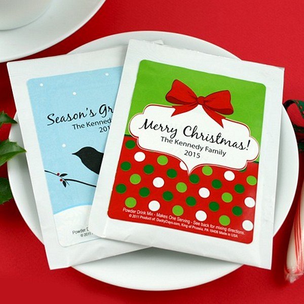 Hot chocolate mixes with personalized holiday labels
