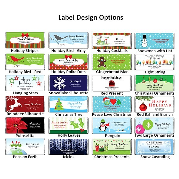 Holdiday candy wrapper design options