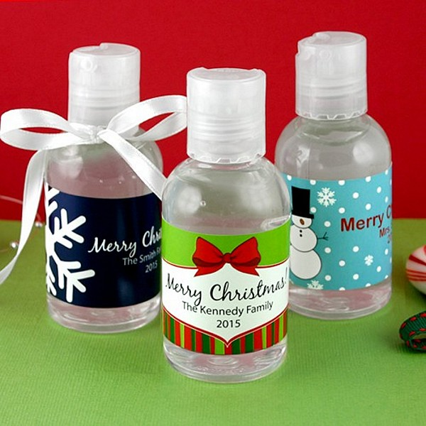 Personalized Winter Holiday Hand Sanitizer Favors