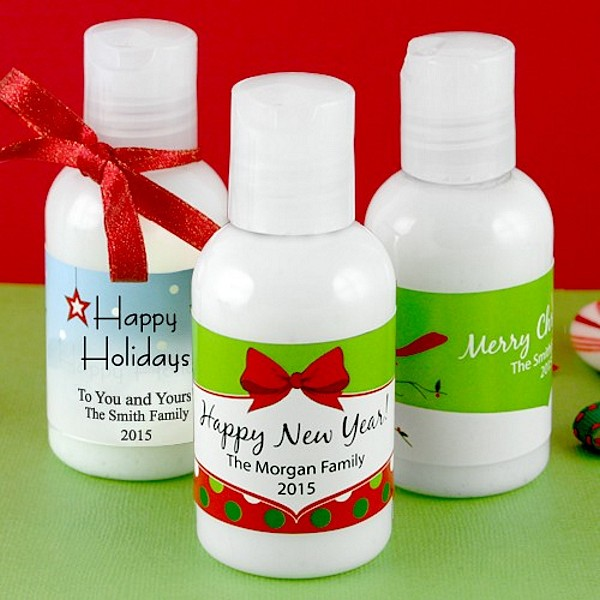 Hand Lotion favors with personalized holiday labels