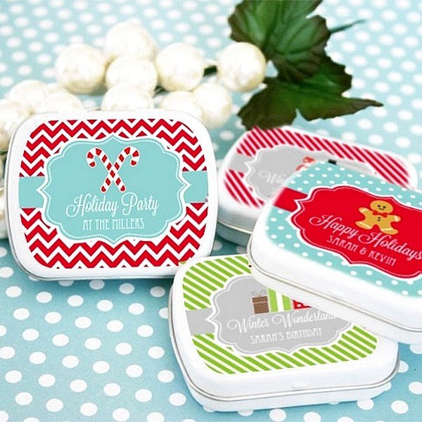 Personalized mint tins with winter themed labels
