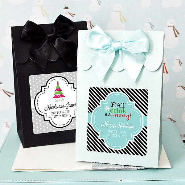 Winter Sweet Shoppe Candy boxes with personalized labels