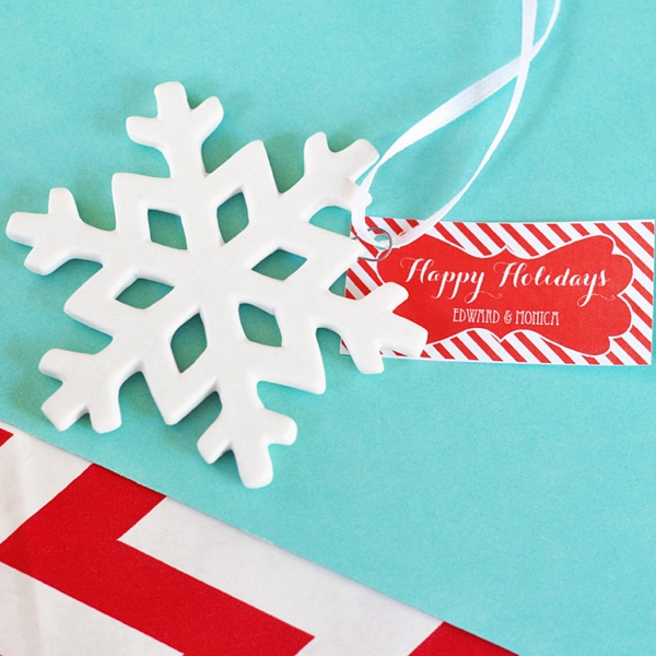 Porcelain Snowflake Ornaments with Personalized Tags
