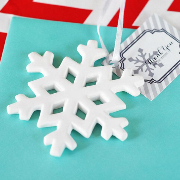 Porcelain Snowflake Ornaments with Thank You tag