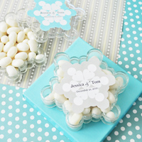 Personalized snowflake shaped acrylic candy boxes with grey sticker label