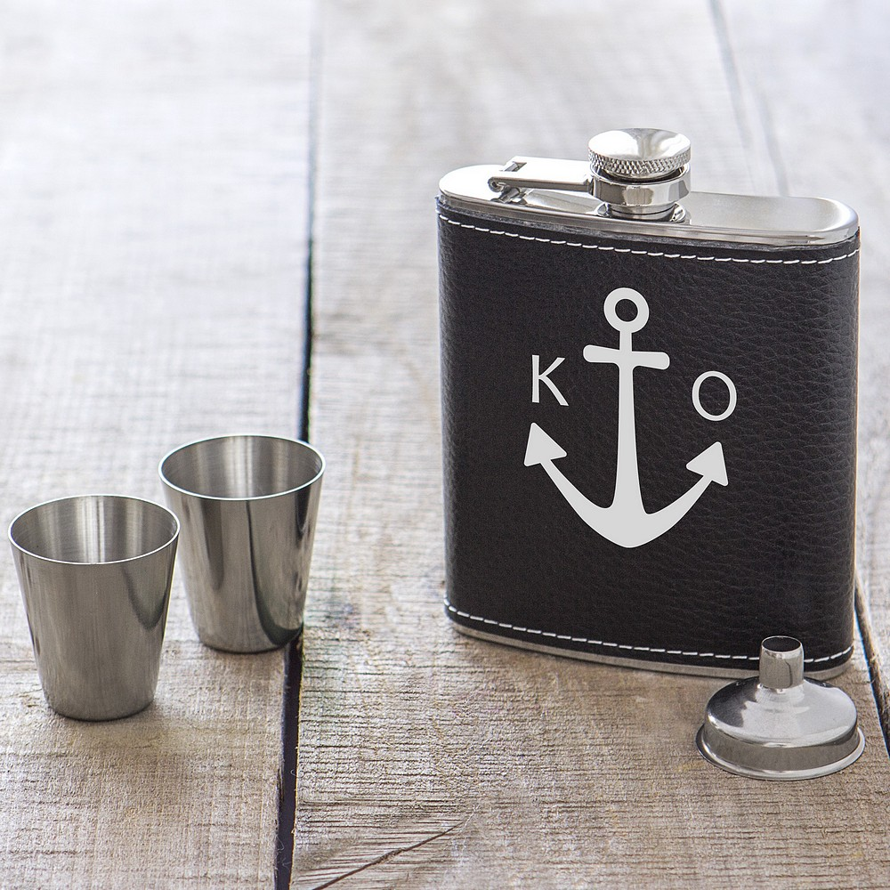 Personalized brown leather anchor hip flask gift set with stainless steel shot glasses and funnel