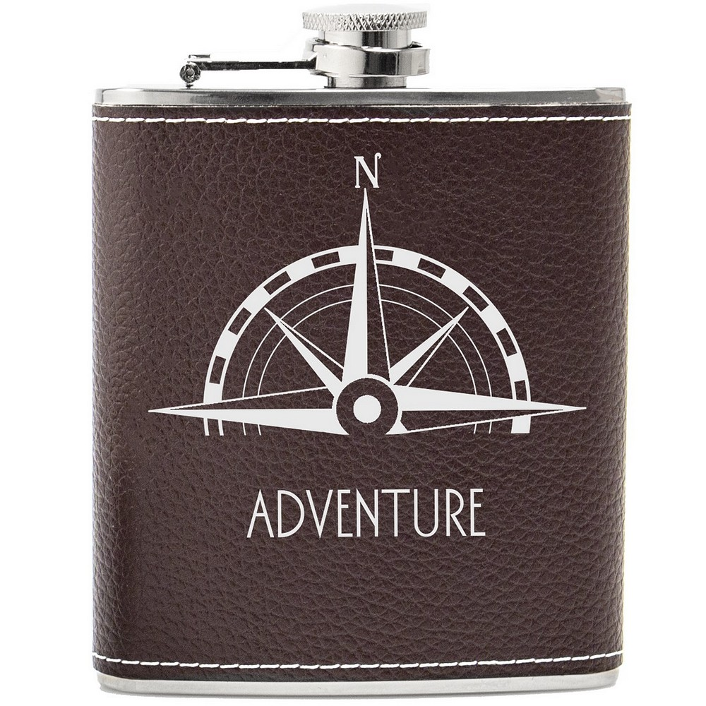 Brown Leather Compass Hip Flask Gift Set Personalized