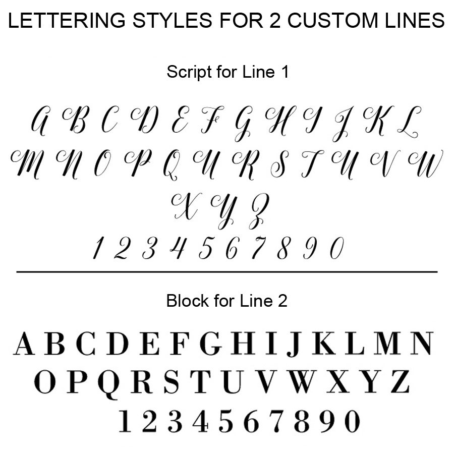Lettering styles used for two custom lines