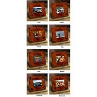 Choose from 8 outdoor themes including stag, wood duck, moose, white oak, spruce, loon, walleye and trout to be perosnalized on cabin series picture frame