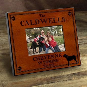 Cabin series picture frames personalized with Labrador design, name, city, state, and established year