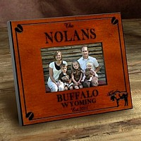 Cabin series picture frames personalized with Moose design, name, city, state, and established year
